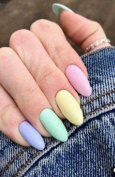 Pretty Multicolored Nail Art Designs For Spring and Summer 2019 rainbow nails, colorful nail art design, French manicure, Multicolored Nail Art Designs Summer Acrylic Nails, Best Acrylic Nails, Acrylic Nail Designs, Summer Nails, Spring Nails, Cute Nails, Pretty Nails, Faux Ongles Gel, Pastel Pink Nails