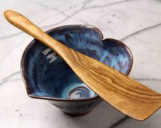 handmade wooden flat ended spurtle kitchen utensil wooden spatula carved from Cherry wood #ad