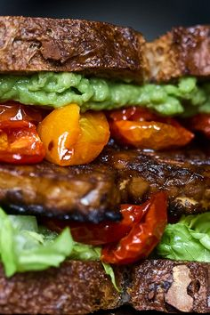 Vegetarian TLT Sandwich Oven Roasted Cherry Tomatoes, Mashed Avocado, Pasta, Whole Foods Market, Avocado Recipes, Food To Make, Dinner, Vegetarian Sandwiches, Kitchens