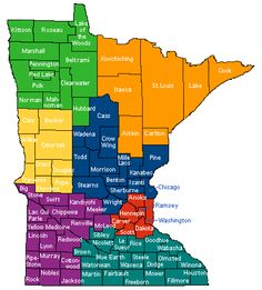 Map showing the Counties located in the State of Minnesota. I was born in Hubbard County.