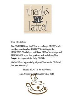 volunteer appreciation cute thank you note to go with your coffee or tea thank you gift for teachers