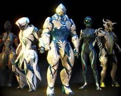 A Warframe Screenshot. Here you see a Group of Tenno Together, From left to Right: Ember,Frost,Rhino(me),Mag,Oberon.