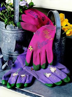 Garden Gloves - what a cute gift! You could give it with a small flowering plant.