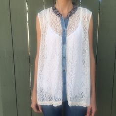 Free people lace sleeveless button down! Free people lace sleeveless button down! Size medium. Gently worn once! Bundle and save! Free People Tops Button Down Shirts