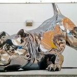 Chrome Dog Mural by Bik Ismo at Art Basel Miami