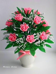 Beaded flowers/ Розы из бисера Beaded Flowers, Diy Flowers, Angel Wing Earrings, Cross Stitch Flowers, Flower Crafts, Pedi, Floral Arrangements, Floral Wreath, Wreaths