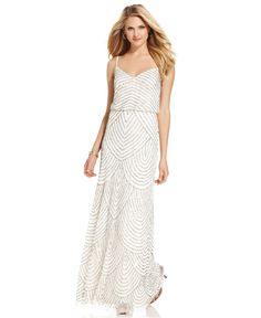 Adrianna Papell Dress, Sleeveless Spaghetti-Strap Beaded Blouson Evening Gown - Womens Dresses - Macy's