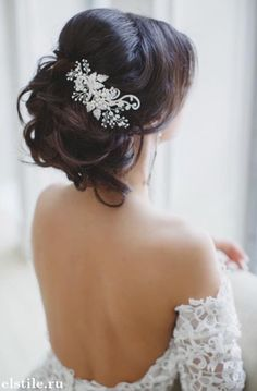 Wedding updo loose with hairpiece