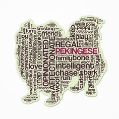 Pekingese Dog Breed Cutout Vinyl Decal Bumper Sticker Characteristic Silhouette