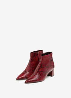 Snakeskin effect ankle boots - View all - Footwear - Uterqüe Belgium