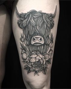 Highland cow tattoo bull tattoos, new tattoos, animal tattoos, Cow Skull Tattoos, Cowgirl Tattoos, Bull Tattoos, Hair Tattoos, Animal Tattoos, Body Art Tattoos, Ox Tattoo, Shin Tattoo, Half Arm Sleeve Tattoo