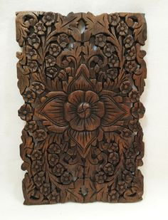 """Wood Wall Decor Lotus flower Design in Brown Finish 12""""x17.5""""x0.5"""""""