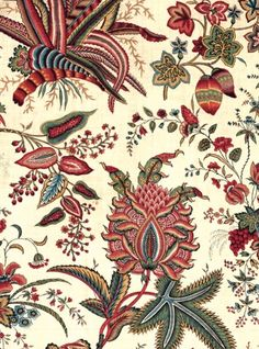 "Detail of Indian-inspired block printed cotton ""Fleurs tropicales et palmiers"" from the Oberkanpf Manufactory, France circa 1787. To be exhibited @metmuseum fall 2013 in ""Interwoven Globe""  image via http://www.hali.com  and http://www.metmuseum.org  uploaded by http://stylecourt.blogspot.com"