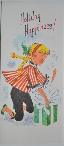 """Vintage Christmas Card """"Holiday Happiness """" Blonde Girl Opening Christmas Gift   eBay"""