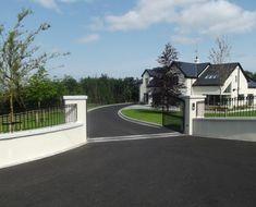 Landscape Design - Entrance piers and railings Driveway Entrance Landscaping, Modern Driveway, Asphalt Driveway, Entrance Gates, House Entrance, House Landscape, Landscape Design, Outside House Colors, House Designs Ireland