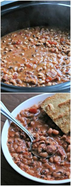 The years in the past I always think to make these New Year's Day Black-Eyed Peas too late in the day. Some think that eating black eyed peas on New Year's Day will bring prosperity in the new year. Slow Cooker Recipes, Crockpot Recipes, Cooking Recipes, Crockpot Dishes, Pea Recipes, Vegetable Recipes, New Years Day Meal, New Year Day Food, New Years Eve Party Ideas Food