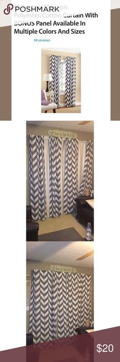 Grey Chevron Curtains I have two sets of these two panel curtains. They are beautiful and long. Smoke free. mainstays Other