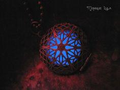 Blue Frost Glow in the Dark Antiqued Brass Filigree by MoniqueLula, $23.00