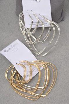 3 pr. Metal Double Hearts Earrings