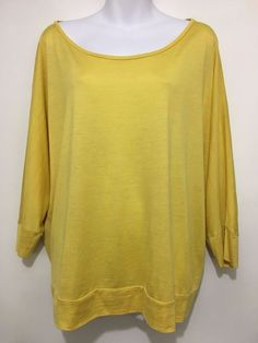 Eileen Fisher Womens L Yellow Silk Cotton 3/4-Sleeve Pullover Tunic Top Shirt #EileenFisher #Tunic #Casual