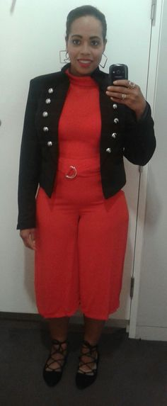 23/08/2016 OOTD- orange/red culotte play-suit; black blazer
