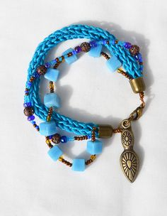 BOHO BEADED BRACELET   ooak spring fashion blue by HeketDesigns