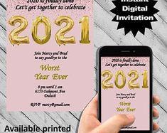 Digital Invitations, Party Invitations, New Years Eve Invitations, New Years Eve Party, Templates, Iphone, Etsy, Stencils, Vorlage