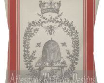 French Grain Sack Pillow 100% Cotton Canvas & Burlap Vintage Bee and Wreath Red French Stripe Throw Pillow Cover Euro Sham