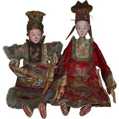Pair of Antique Chinese Opera Dolls 1900