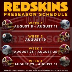 Redskins 2013 Preseason Schedule! Time to see what Kirk Cousins can do to make a name for himself.  RGIII is our starter and Kirk has proven he can fill in and still win games.  Strong QB corps we have.