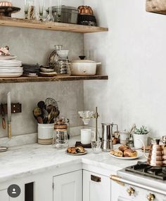 Inspiring white kitchen decorating ideas from Beth Kirby's glorious modern farmhouse kitchen. Rustic decor with wood shelves, marble countertops, and white painted cabinets. Marble Countertops, Kitchen Countertops, Kitchen Benchtops, Kitchen Backsplash, Granite, Kitchen Cabinets, Modern Farmhouse Kitchens, Home Kitchens, White Farmhouse