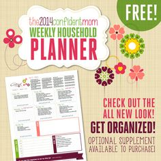 Grab your FREE copy of The Confident Mom Weekly Household Planner for 2014 and take control over your homemaking tasks! Ultimate READY TO GO - planner to make life a bit easier! Home Organisation, Household Organization, Life Organization, Mom Planner, Weekly Planner, Printable Planner, Free Printables, Home Management Binder, Day Planners
