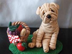 Shar pei porcelana fria polymer clay pasta francesa masa flexible fimo figurine modelado modelling cake topper