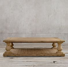 RH's Balustrade Salvaged Wood Coffee Table:Our salvaged pine coffee table takes the classic architectural baluster and gives it a rustic yet refined sensibility.
