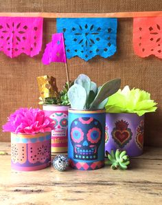 Printable can labels for Mexican Day of the Dead, Dia de los Muertos, featuring sugar skulls and milagro hearts. Papel picado tutorial & templates too - all at Happythought.co.uk