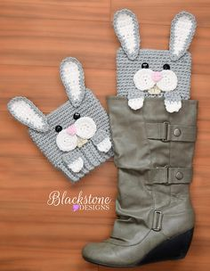Peeping Bunny Boot Cuffs crochet pattern from Blackstone Designs Perfect for Easter (or Rabbit lovers!)