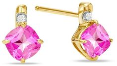 Zales Cushion-Cut Pink Topaz and Diamond Accent Earrings in 10K Gold