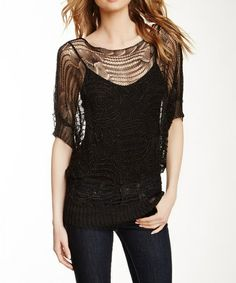 c8769ea0b64 Black Crocheted Sweater by Sisters  zulilyfinds Sweaters For Women