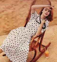 Nena von Schlebrugge in a summer polka-dot dress.