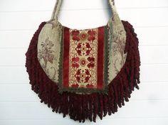 Victorian Bohemian Bag Purse Burgundy Chenille by ZojjaUniquelyYou