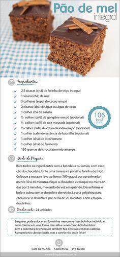 Receita de Pão de mel integral do Blog da Mimis - Com super sabores, esse pão de mel é deliciosos e saudável