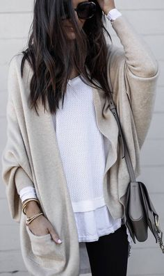 #winter #outfits white top, beige cardigan, black jeans