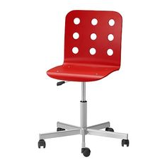 IKEA - JULES, Swivel chair, red/silver color,  , , You sit comfortably since the chair is adjustable in height.