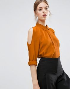 New job work outfits ASOS Cold Shoulder Oversized Blouse with Batwing Sleeve