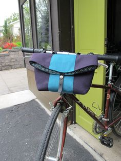 "Bike Handlebar Bag bicycle basket 10"" x 4"" x 8"" high when closed (12"" when open as a basket)"