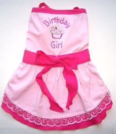 Dog Clothes Birthday Girl Dog Dress Sizes Small Med by miascloset