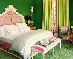 Pink & Green - Bedroom..hmm surprised that a room w/DEEP GREEN walls, Green CARPET, Lime green drapes and dated 80'sish Tulip headboard can WORK..but it WORKS! unpredictable;)