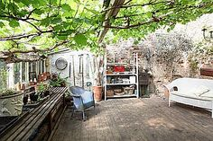 Perfect Outdoor space: love this great outdoor space. Reminds me of all the grape arbors in Italy and Italian neighborhoods. We has one loved it. Outdoor Rooms, Outdoor Living, Outdoor Decor, Outdoor Stuff, Outdoor Ideas, Backyard Ideas, Garden Ideas, Victorian Greenhouses, Victorian Gardens