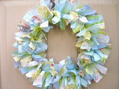 Newborn Baby Boy Fabric Wreath Nursery Decor New by AWorkofHeartSA