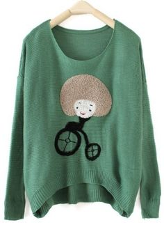 Green Round Neck Long Sleeve Girl Print Pullovers Sweater - Sheinside.com